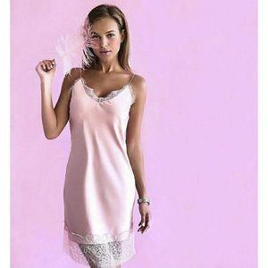 Leon Rose satin night slip gown pink